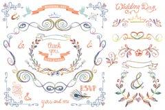 Cute wedding template set.Floral Decor elements Stock Photos
