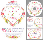 Cute wedding template set.Floral heart wreath Stock Image