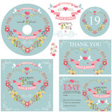 Cute wedding template set with floral wreath Stock Photos