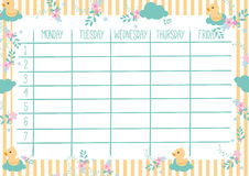 Cute Weekly Planner Stock Images