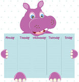 Cute Weekly Planner. Cute Calendar Weekly Planner Template with Vector Character Hippo  Illustration. Organizer and Schedule Stock Images