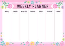 Cute weekly planner with drawn flower. Template with place for notes. Vector illustration for print, office, school royalty free illustration