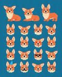 Cute Welsh Corgi constructor. Vector illustration of Corgi dog in different poses and its head shows various emotions in. Cute Welsh Corgi constructor stock illustration