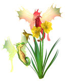 Cute Welsh Dragons and Daffodils for St David`s Day. Fantasy illustration of cute red and green Welsh dragons and yellow daffodils for St David`s Day, patron royalty free illustration