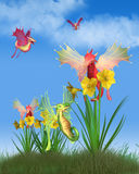 Cute Welsh Dragons and Daffodils on a Sunny St David`s Day. Fantasy illustration of cute red and green Welsh dragons flying around yellow daffodils on a sunny St royalty free illustration