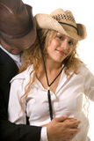 Cute western couple. Attractive couple in western cowboy attire Royalty Free Stock Photography