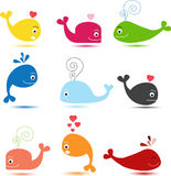 Cute whale cartoon collection Stock Photography