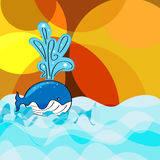 Cute whale cartoon vector background Stock Photo