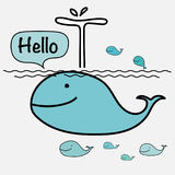 Cute Whale Say Hello On The Sea. Vector Illustration. Stock Images