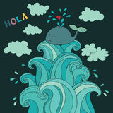 Cute whale on the waves. Map, pillow, poster. Hands draw style. Text HOLA Stock Images