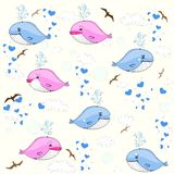 Cute whales. Children's seamless background Royalty Free Stock Photography