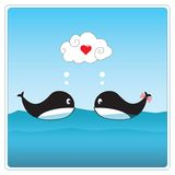Cute whales in love. Vector illustration Royalty Free Stock Image