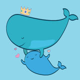 Cute whales-mother with baby Stock Images
