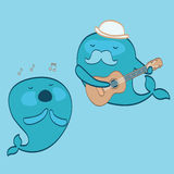 Cute whales musicians Royalty Free Stock Photos