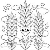 Field with wheat characters. Coloring book page. Cute wheat or barley characters growing on a field. Black and white coloring book page Royalty Free Stock Image