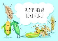 Cute wheat stem, bean, peas and corn characters, cereals, legumes and speech bubble with place for your text vector. Cute wheat stem, bean, peas and corn Stock Photos
