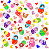 Cute white background with matryoshka dolls, butterflies Royalty Free Stock Image