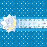 Cute white bear cub on a young month. Blue background with stars. Vintage background, openwork ribbon with starlets Invitation card or template for children`s Royalty Free Stock Photography