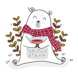 Cute white bear having coffee in spring season with a little bee. White bear having coffee in spring season with a little bee royalty free illustration
