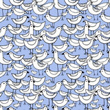 Cute white Birds set. Vector Seamless pattern. Royalty Free Stock Photo