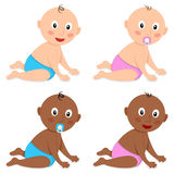 Cute White & Black Baby Toddler Infant Stock Images