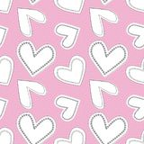 Cute white and black line art doodle hearts as seamless vector pattern on textured bubbly pink background. stock photography