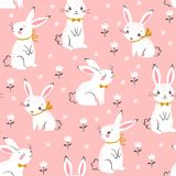 Cute white bunnies pattern on pink background. Seamless pattern of cute white bunnies on pink background with floral elements Stock Photo