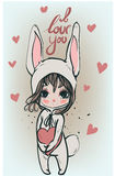 Cute white bunny girl - vector illustration Stock Image