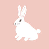Cute white Bunny on pink background. Vector illustration for easter cards, baby textile, poster, banner design. Stock Photography