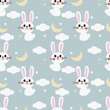 Cute white bunny on the sky seamless pattern. Lovely cartoon concept stock illustration