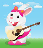 Cute White cartoon bunny playing acoustic guitar Stock Images