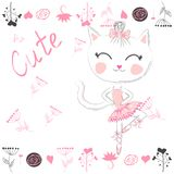 Cute white cartoon cat in ballet tutu, kitty girl in a pink skirt royalty free illustration