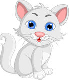 Cute white cat cartoon expression Royalty Free Stock Image