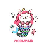 Cute white cat in a mermaid costume. With tail of a mermaid, crown, pearl, shell, coral and starfish. Meowmaid - wordplay meow and mermaid. It can be used for Royalty Free Stock Photo