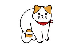 A cute white cat with red scart royalty free illustration