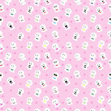 Cute white dolls seamless pattern background. Cute white dolls seamless pattern on soft pink background vector illustration image with different adorable emotion Royalty Free Stock Image