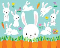 Cute White Easter Bunny Rabbit Vector Illustration. And colorful flowers and carrots stock illustration