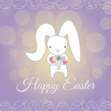 Cute white Easter Bunny spring flower stock photos