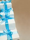 Cute white gift boxes Stock Image