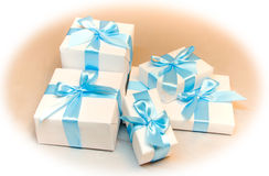 Cute white gift boxes Royalty Free Stock Photography