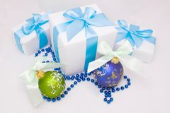 Cute white gift boxes Royalty Free Stock Images