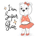 Cute white girl superstar in white clothes royalty free illustration