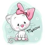 Cute White kitten. Cute Cartoon White kitten on a blue background Stock Image