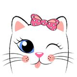 Cute white kitten with pink bow. Girlish print with kitty for t-shirt Royalty Free Stock Image