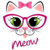 Cute white kitten with pink bow and glasses. Girlish print with kitty for t-shirt. Vector illustration isolated on white background stock illustration
