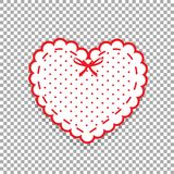 Cute white lacy heart with red polka dots pattern and ribbon iso. Lated on transparent background. Scrapbook design element. Valentines day or love wedding Stock Images