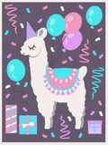 Cute white Llama or Alpaca with party hat, gift boxes, balloons and confetti birthday greeting card stock illustration
