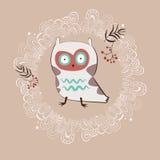 Cute white owl vector illustration
