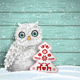 Cute white owl sitting in snow in front of blue wooden wall, winter holiday theme, illustration. Cute white owl sitting in snow in front of blue wooden wall with stock illustration