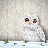 Cute white owl sitting in snow in front of gray wooden wall, winter holiday theme, illustration Royalty Free Stock Photos